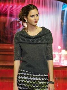 Rowan says: Knit this stunning womens sweater with cowl neck and bead detail from Parisian Nights. A design by Martin Storey using the beautiful Kidsilk Haze, a versatile fine yarn made from 70% mohair and 30% silk. This knitting pattern is suitable for intermediate knitters.