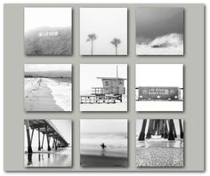 """Black and White California Photography Gallery Print Set 
