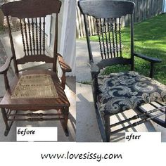 Rocking chair makeover, wood restore & upholster seat.