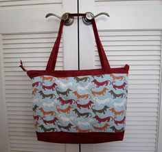 Quilted Totebag I Love My Dachshund  Fancy Tote