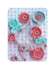 Inspiration - Crochet Flower Garland in Aqua and Coral
