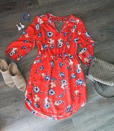 red floral dress, block-heeled sandals, crossover bag