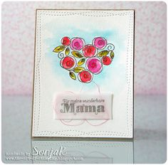 "Muttertagskarte | Mother's Day Card - Simon Says Stamp ""Roses for You"", Stampin Up ""Ein Duftes Dutzend"", My Favorite Things ""Wonky Stitched Rectangles"", Distress Ink"