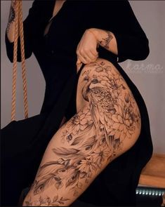 Tribal Back Tattoos, Flower Leg Tattoos, Back Of Leg Tattoos, Hip Thigh Tattoos, Girl Leg Tattoos, Belly Tattoos, Back Tattoo Women, Tattoos Skull, Sleeve Tattoos For Women