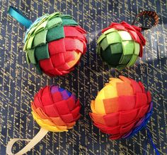 Set of 4 Handmade Christmas balls on the base of styrofoam covered with fabric. Diameter: 7-8 cm (3 inches) and 6 cm (2,5 inches). You will get 2