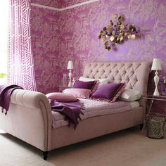 Amazing Creation Decoration Little Girl Bedroom Cute Interior Ideas With Cool Purple Wallpaper And Small Nightstand And A Couple Of White Desk Lamp Tween Girl Bedroom Ideas