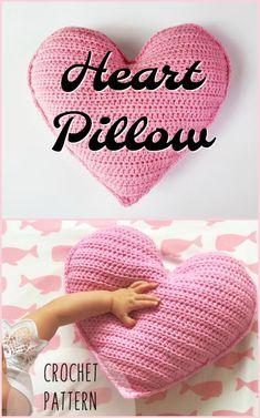Sweet little simple crochet pattern for single crochet heart pillow. Perfect thr… Sweet little simple crochet pattern for single crochet heart pillow. Crochet Unique, Crochet Simple, Cute Crochet, Crochet For Kids, Crotchet, Crochet Baby, Crochet Pillow Pattern, Crochet Cushions, Crochet Blanket Patterns