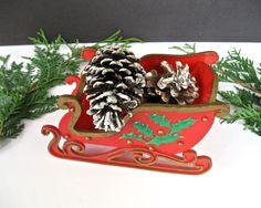 Vintage Folding Sleigh • Country Christmas Shelf Sitter • Hand-Painted Folding Plastic Sled