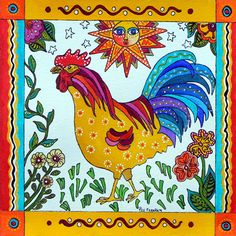 painted folk art rooster   Alamos Rooster 8 x 8