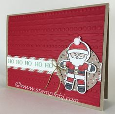 Love this cute Santa!  It's part of a card set using the Cookie Cutter Christmas stamp set.  Check my blog for how you can get the tutorial!  #stampinbj.com