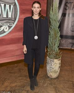 Monochrome: Rooney Mara donned an all-black ensemble as she attended the 2015 Telluride Film Festival in Telluride, Colorado on Friday