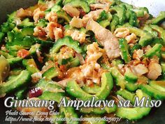 Ginisang ampalaya sa miso is a sauteed bitter melon in miso, a Japanese seasoning made with fermented soy beans with salt and fungus. That is why miso is salty Filipino Dishes, Filipino Recipes, Filipino Food, Vegetable Dishes, Vegetable Recipes, Panlasang Pinoy Recipe, Melon Recipes, Pinoy Food, Healthy Vegetables