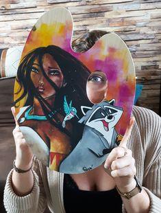 Acrylique/peinture/palettedepeintre/palette/Pocahontas/lalégendeindienne/disneycontemporain/peinture/réalisme/tableau/acrylique/illustration/graphisme/paint/Poppix' 38x28cm Pocahontas, Carnival, Palette, Illustration, Face, Painting, Acrylic Board, Painted Canvas, Black N White