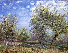 Apple Trees in Flower / Alfred Sisley - 1880