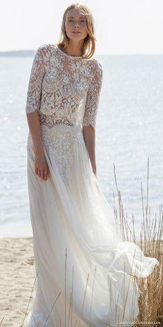 christos costarellos bridal spring 2016 gorgeous bohemian chic lace two piece wedding dress half sleeve high neck top soft skirt #croptop