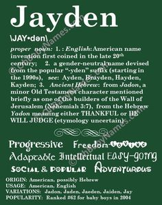 JAYDEN Personalized Name Print / Typography Print / Detailed Name Definitions / Numerology-calculated Destiny Traits / Educational