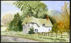 Miniature Watercolor - Thatched Cottage - Hampshire