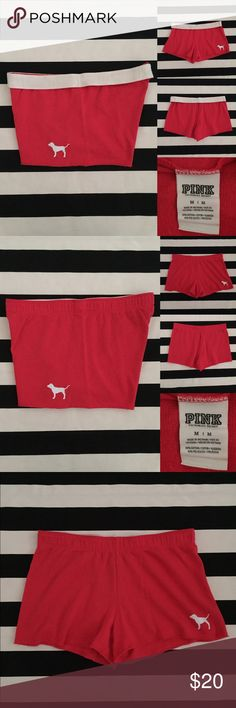 "[vs pink] sweat shorts [vs pink] sweat shorts •listing •size medium •new without tags condition •color is red with white screen print •length/inseam just under 3"" •material is cotton and polyester, soft sweat pant feel •elastic waistband, can be folded over to show white band with pink logo •see other pink and vs listings in my closet PINK Victoria's Secret Shorts"