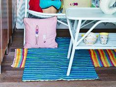 RICE Teppich Streifen blau grün türkis