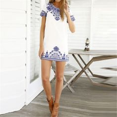 Bohemian Blue Pasley T Shirt Dress Boho Chic White Dress Beach Dress - Hippie BLiss
