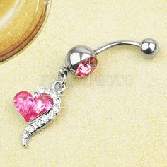 Pink Crystal Ball Belly Navel Button Bar Ring Barbell Body Jewelry Piercing
