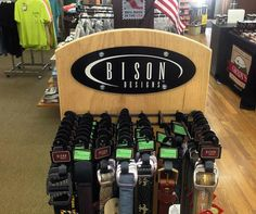 Nice collection of Bison Designs belts at Grady's Great Outdoors. South Carolina friends, swing by and get yourself outfitted for the great outdoors! Photo from GGO's Instagram.