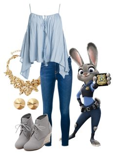Zootopia by made-a-line on Polyvore featuring polyvore, fashion, style, Sans Souci, Frame Denim, WithChic, Oscar de la Renta, Eddie Borgo and clothing