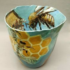 "Jitka Palmer: ""Beekeeper"" red earthenware vessel painted with slips and oxides Ceramic Pottery, Ceramic Art, Painted Pottery, Painted Pots, Pottery Vase, Hand Painted, Mein Café, Buzzy Bee, I Love Bees"