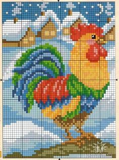 ru / Фото - my favorite cross-stiched - zebdok Rooster Cross Stitch, Chicken Cross Stitch, Cross Stitch Animals, Cross Stitch Charts, Cross Stitch Designs, Cross Stitch Patterns, Cross Stitching, Cross Stitch Embroidery, Hand Embroidery