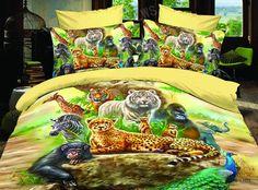 3d animal bedding sets | 3D-Animal-tiger-leopard-zebra-yellow-comforter-bedding-set-queen ...