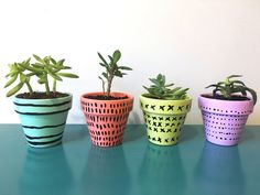 DIY Painted Pots — One Strange Bird