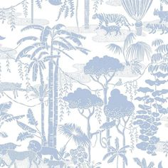 3656aff25dac Jungle Dream Screen Printed Wallpaper in Bluebell  Dusty Blue on White