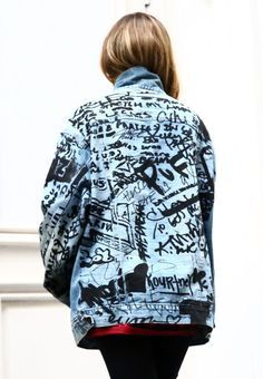"""Kanye West's """"The Life of Pablo"""" denim jacket at his pop-up in New York City. Photo: Astrid Stawiarz/Getty Images"""