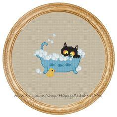 Cross Stitch Pattern PDF cat in the bath DD0185