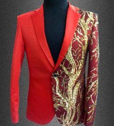 Mens Blazers With Embroidery Gold Sequins, Men's Fashion Blazer, Plus Size, Red, Black-Men's Blazers-LeStyleParfait.Com