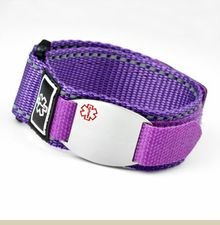 Purple Medical Velcro Sport Strap With Stainless Id Tag Adjule 4 1 2