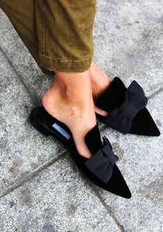 TheyAllHateUs | Page 3 // gorgeous black pointed mules with ribbon More The Best of shoes in 2017.