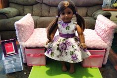 AG doll bed made from a closet shoe shelf & fabric