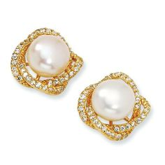 Gold-plated Sterling Silver CZ White Cultured Pearl Post Earrings - JewelryWeb JewelryWeb. $121.90