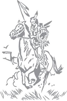 Glass etching stencil of Native American Warrior Riding a Horse. In category: Horses, Native American, Western