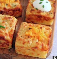Leftover Mashed Potato Puffs_ Ingredients: 2 eggs cup sour cream, plus more for serving 1 heaping cup shredded sharp cheddar cheese 2 tablespoons grated Parmesan 2 tablespoons chopped chives salt and black pepper, to taste 3 cups mashed potatoes Potato Dishes, Food Dishes, Veggie Dishes, Side Dishes, Main Dishes, Potato Bar, Potato Snacks, Pampered Chef Recipes, Cooking Recipes