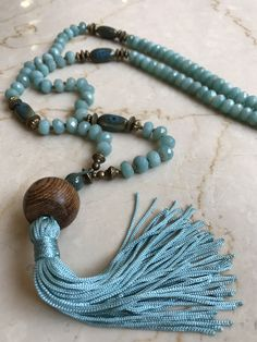 Handforged soldered Tassel top long necklace Butterfly Handknotted Semiprecious Gemstones Pinks & Grays/Artisan/Boho Cottage-chic by Y-Knot? Beaded Tassel Necklace, Tassel Jewelry, Leather Necklace, Boho Necklace, Bohemian Jewelry, Beaded Jewelry, Jewelery, Jewelry Necklaces, Bracelets