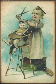 Cat Little Girl Humorous Vintage Style Postcard