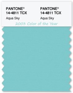 Color Swatch Pantone Color of the Year 2003 Aqua Sky - TheLandofColor.com #pantone #coloroftheyear #aquasky