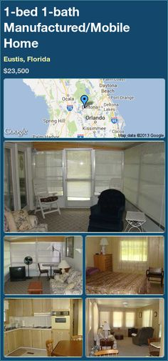 1-bed 1-bath Manufactured/Mobile Home in Eustis, Florida ►$23,500 #PropertyForSale #RealEstate #Florida http://florida-magic.com/properties/12428-manufactured-mobile-home-for-sale-in-eustis-florida-with-1-bedroom-1-bathroom