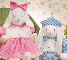 Country Cottage Stuffed Plush Easter Bunny Boy & Girl Craft Pattern by TheOldLeaf, $8.95 #EasterRabbit