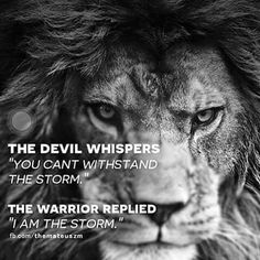 "The Devil whispers ""you can't withstand the storm"". The warrior replied ""I am the storm""."