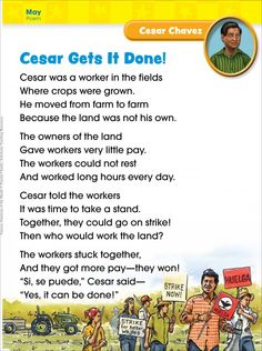 Cesar Chavez (May/Cinco de Mayo): Famous American of the Month 3rd Grade Social Studies, Social Studies Lesson Plans, Teaching Social Studies, Teaching History, Teaching Kids, Cesar Chavez Day, Instructional Coaching, Lessons For Kids, Spanish Heritage