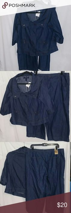 Jeanstar 2pc Jacket & Capri Set Size 14 NWT... The jacket is a large.. Capris are drawing and a size 14... Lightweight jean 2pc set jeanstar Pants
