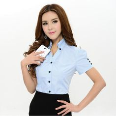 Aliexpress.com: Comprar Nuevo 2015 verano moda mujeres blusa y camisas de manga corta para Formal Pink Ladies blusas de trabajo Plus tamaño XXXL superior para mujer elegante de blusas juveniles fiable proveedores en Kidmall Online Store Womens Fashion For Work, Women's Summer Fashion, Women's Fashion, Office Uniform For Women, Suits For Women, Clothes For Women, Uniform Shirts, Moda Chic, Summer Blouses